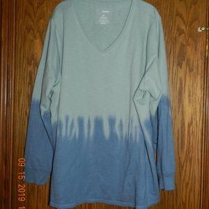 Women's Sonoma Blue and Green V Neck Sweatshirt